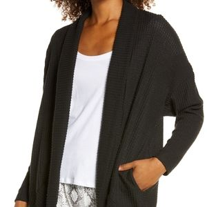 Socialite Cocoon Waffle Knit Cardigan in black size LARGE